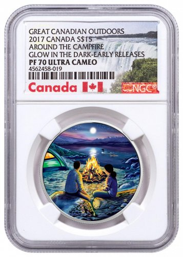 2017 Canada Great Canadian Outdoors - Around the Campfire 3/4 oz Silver Colorized Glow in the Dark Proof $15 Coin NGC PF70 UC ER Exclusive Canada Label