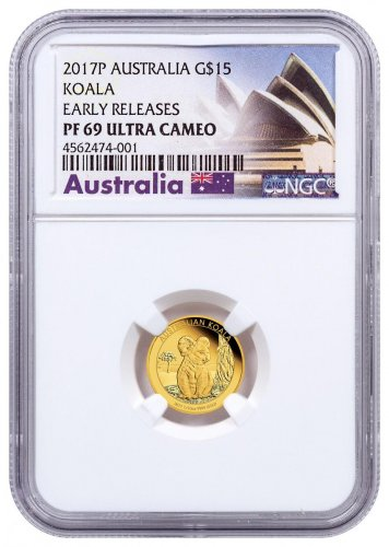 2017 Australia 1/10 oz Gold Koala - Proof $15 Coin NGC PF69 UC ER Exclusive Australia Label