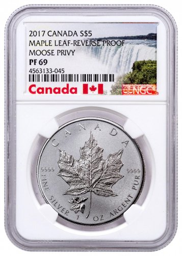 2017 Canada 1 oz Silver Maple Leaf - Moose Privy Reverse Proof $5 Coin NGC PF69 Exclusive Canada Label