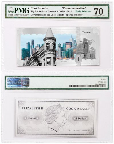 2017 Cook Islands Famous Skylines - Toronto Foil Note 5 g Silver Prooflike $1 PMG Gem Unc 70 ER