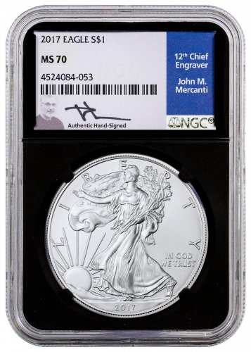 2017 American Silver Eagle NGC MS70 Black Core Holder Mercanti Signed Label