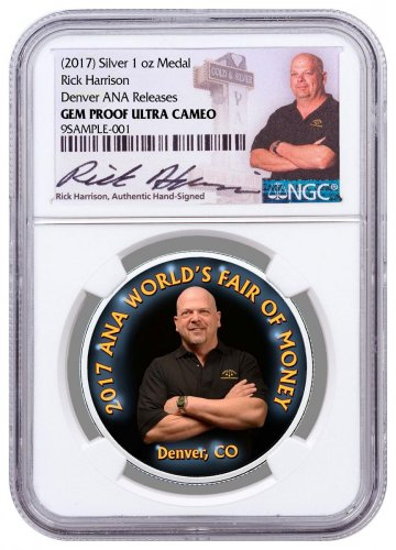 2017 Rick Harrison Denver ANA 1 oz Silver Colorized Proof Medal Denver ANA Releases NGC GEM Proof Exclusive Rick Harrison Signed Label