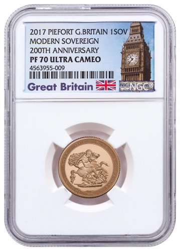 2017 Great Britain 1/2 oz Gold Sovereign - Pistrucci 200th Anniversary Piedfort Proof 1 Coin NGC PF70 UC Exclusive Big Ben Label