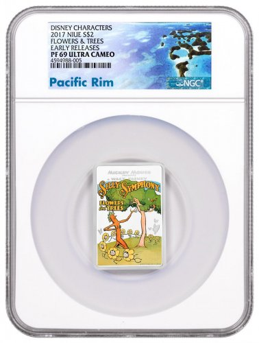 2017 Niue Disney Posters of the 1930s - Flowers and Trees Rectangle 1 oz Silver Colorized Proof $2 Coin NGC PF69 UC ER Exclusive Pacific Rim Label