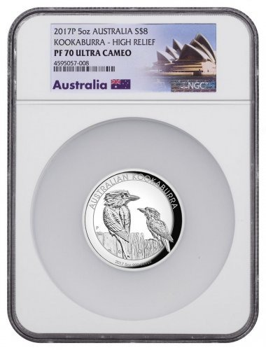2017 Australia 5 oz High Relief Silver Kookaburra Proof $8 Coin NGC PF70 UC Exclusive Australia Label