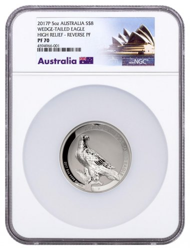 2017 Australia 5 oz High Relief Silver Wedge-Tailed Eagle Reverse Proof $8 Coin NGC PF70 Exclusive Australia Label