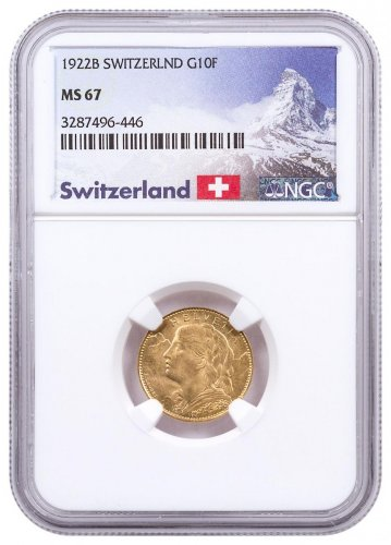 1922-B Switzerland Helvetia Gold 10 Franc NGC MS67 Exclusive Switzerland Label