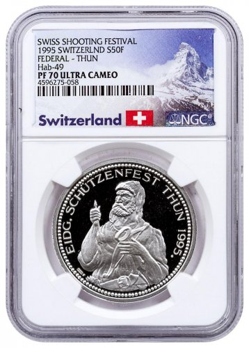 1995 Switzerland Shooting Festival Thaler - Thun Silver Proof Fr.50 Coin NGC PF70 UC Exclusive Switzerland Label