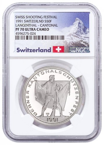 1991 Switzerland Shooting Festival Thaler - Langenthal Silver Proof Fr.50 Coin NGC PF70 UC Exclusive Switzerland Label