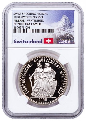 1990 Switzerland Shooting Festival Thaler - Winterthur Silver Proof Fr.50 NGC PF70 UC Exclusive Switzerland Label