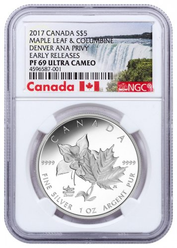 2017 Canada ANA State Flowers - Maple Leaf & Columbine Denver ANA Privy 1 oz Silver Proof $5 Coin NGC PF69 UC ER Exclusive Canada Label