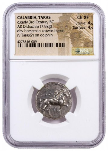 Calabria, Taras Silver Didrachm (c.Early 3rd Century BC) - obv. Horseman/rv. Taras on Dolphin NGC Ch. XF (Strike: 4/5, Surface: 4/5) [11261]