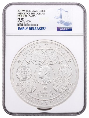 2017 Spain History of the Dollar 1 Kilo Silver Proof €300 Coin NGC PF69 ER