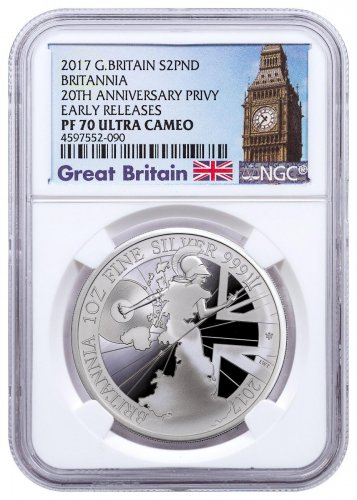 2017 Great Britain 1 oz Silver Britannia - 20th Anniversary Trident Privy Proof £2 Coin NGC PF70 UC ER Exclusive Big Ben Label