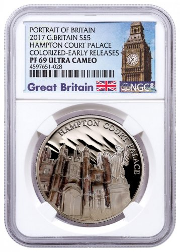 2017 Great Britain Portrait of Britain - Hampton Court Palace Silver Colorized Proof £5 Coin NGC PF69 UC ER Exclusive Big Ben Label