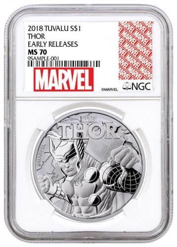 2018 Tuvalu Thor 1 oz Silver Marvel Series $1 Coin NGC MS70 ER Exclusive Marvel Label