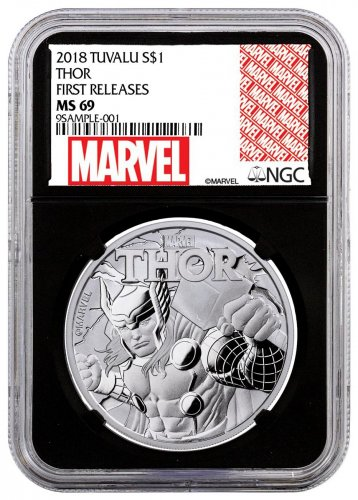 2018 Tuvalu Thor 1 oz Silver Marvel Series $1 Coin NGC MS69 FR Black Core Holder Exclusive Marvel Label