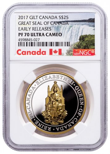 2017 Canada Great Seal of Canada Ultra High Relief 1 oz Silver Gilt Proof 25 Coin NGC PF70 UC ER Exclusive Canada Label