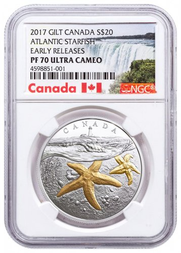 2017 Canada From Sea to Sea - Atlantic Starfish 1 oz Silver Gilt Proof $20 Coin NGC PF70 UC ER Exclusive Canada Label