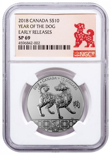 2018 Canada Year of the Dog 1/2 oz Silver Lunar Specimen $10 Coin NGC SP69 ER Year of the Dog Label