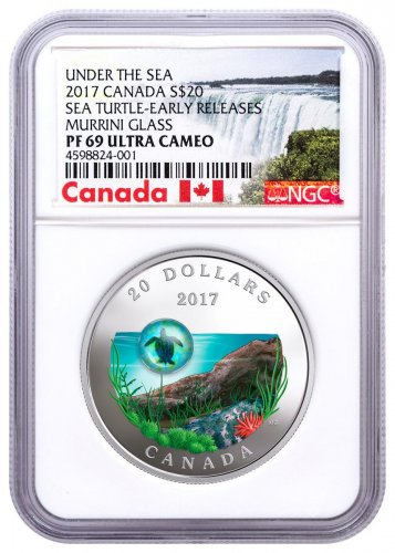 2017 Canada Under the Sea - Sea Turtle 1 oz Silver Colorized Proof $20 Coin NGC PF69 UC ER Exclusive Canada Label