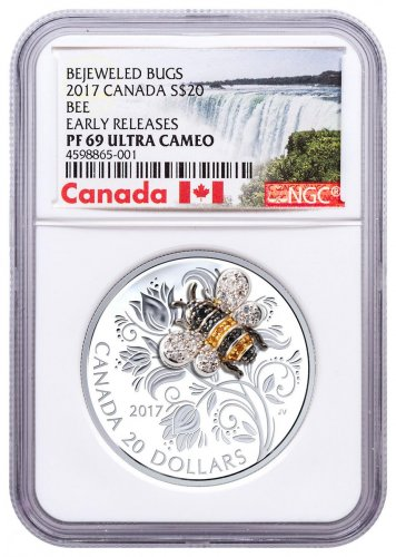 2017 Canada Bejeweled Bugs - Bee 1 oz Silver Proof 20 Coin NGC PF69 UC ER Exclusive Canada Label