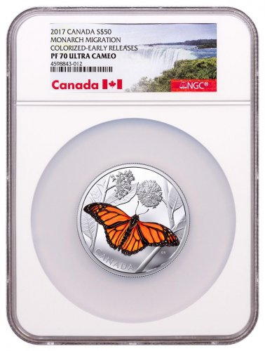 2017 Canada Monarch Migration - 3 oz Silver Colorized Proof $50 Coin NGC PF70 UC ER Exclusive Canada Label