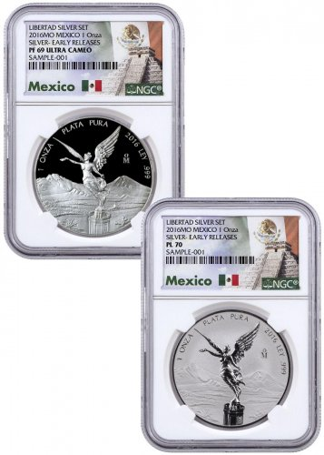 2016-Mo Mexico 1 oz Silver Libertad - 2-Coin Set From Libertad Silver Set NGC PL70 PF69 ER Exclusive Mexico Label