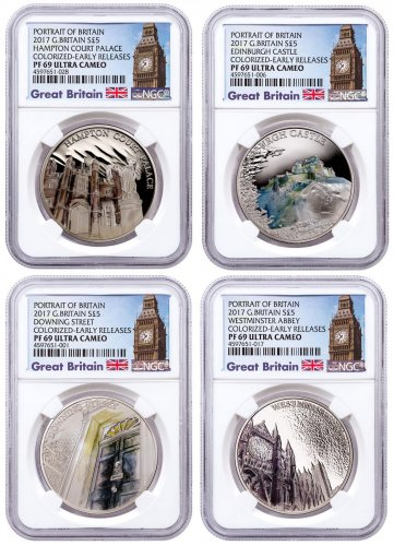 2017 Great Britain Portrait of Britain Silver Colorized Proof £5 4-Coin Set NGC PF69 UC ER Exclusive Big Ben Label