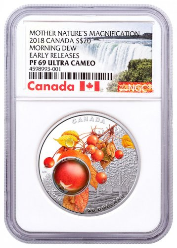 2018 Canada Mother Nature's Magnification - Morning Dew 1 oz Silver Colorized Proof $20 Coin NGC PF69 UC ER Exclusive Canada Label