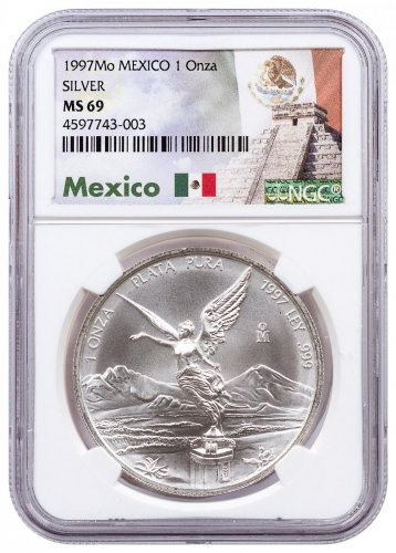 1997-Mo Mexico 1 oz Silver Libertad Coin NGC MS69 Exclusive Mexico Label