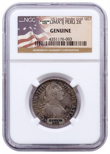 Random Date 1772-1825 Spain Silver 2 Reales - Portrait Type - NGC Genuine (US Legal Tender Until 1857 Label)