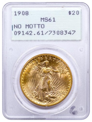 1908 Saint-Gaudens (No Motto) $20 Gold Double Eagle PCGS MS61 1st Generation Holder OGH