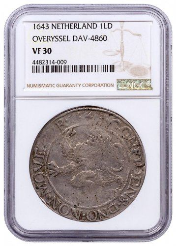 1643 Netherlands Silver New York Lion Dollar NGC VF30