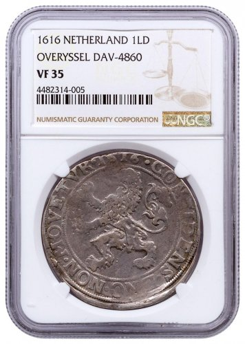 1616 Netherlands Silver New York Lion Dollar NGC VF35