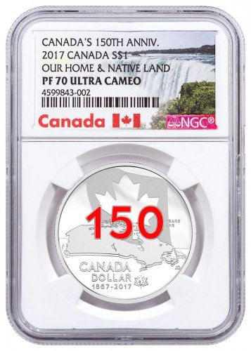 2017 Canada Celebrating Canada's 150th - Our Home and Native Land 3/4 oz Silver Enameled Proof $1 Coin NGC PF70 UC Exclusive Canada Label