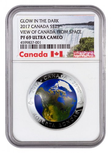 2017 Canada View of Canada from Space Domed 1 oz Silver Colorized Glow in the Dark Proof $25 Coin NGC PF69 UC Exclusive Canada Label