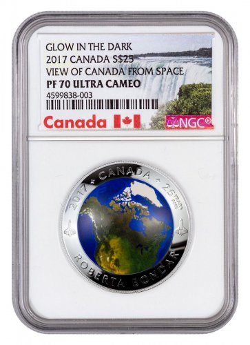 2017 Canada View of Canada from Space Domed 1 oz Silver Colorized Glow in the Dark Proof $25 Coin NGC PF70 UC Exclusive Canada Label
