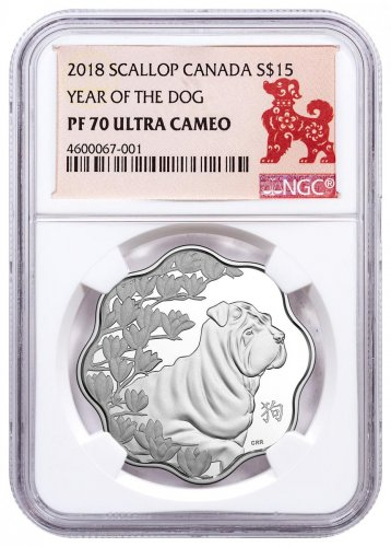 2018 Canada Year of the Dog Silver Lunar Lotus Proof $15 Coin NGC PF70 UC
