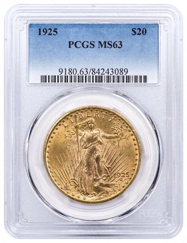 1925 Saint-Gaudens $20 Gold Double Eagles PCGS MS63