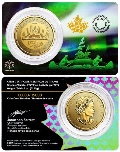 2017 Canada Celebrating Canada's 150th - Voyageur Special Edition 1 oz Gold $150 Coin GEM BU OGP