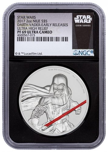 2017 Niue Star Wars - Darth Vader Ultra High Relief 2 oz Silver Colorized Proof $5 Coin NGC PF69 UC ER Black Core Holder Exclusive Star Wars Label
