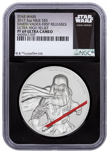 2017 Niue Star Wars - Darth Vader Ultra High Relief 2 oz Silver Colorized Proof $5 Coin NGC PF69 UC FR Black Core Holder Exclusive Star Wars Label
