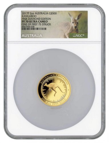 2017 Australia 2 oz Gold Kangaroo - Pink Diamond Edition Proof $500 Coin NGC PF70 UC FS Scarce and Unique Coin Division