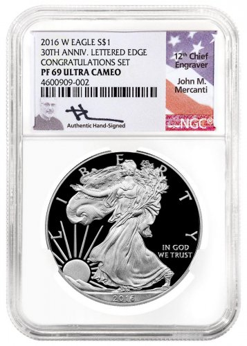 2016-W Proof American Silver Eagle Congratulations Set NGC PF69 UC Mercanti Signed Label