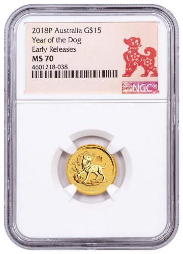 2018-P Australia Year of the Dog 1/10 oz Gold Lunar (Series 2) $15 Coin NGC MS70 ER Year of the Dog Label
