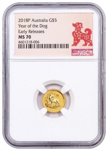 2018-P Australia Year of the Dog 1/20 oz Gold Lunar (Series 2) $5 Coin NGC MS70 ER Year of the Dog Label