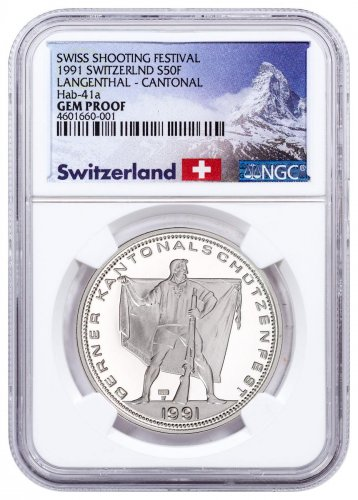 1991 Switzerland Shooting Festival Thaler - Langenthal Silver Proof Fr.50 Coin NGC GEM Proof