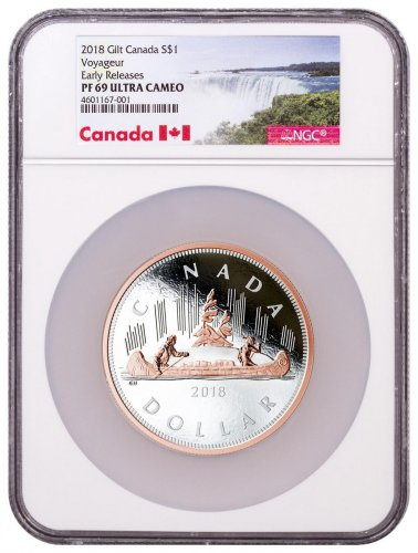 2018 Canada Big Coin Series - Voyageur Dollar 5 oz Silver Gilt Proof $1 Coin NGC PF69 UC ER Exclusive Canada Label