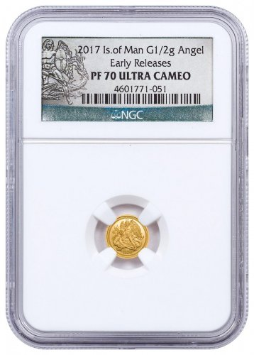 2017 Isle of Man 1/2 g Gold Angel Proof Coin NGC PF70 UC ER Exclusive Angel Label